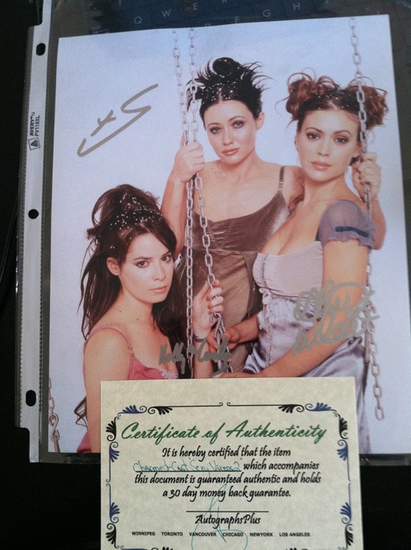 Charmed Sisters Photo with Original Actresses Signatures
